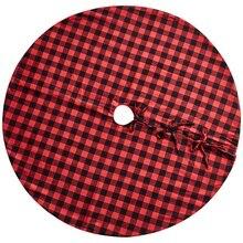 48-дюймовый коврик под рождественскую елку Красного и черного цветов плед коврик под рождественскую елку для рождественские украшения в помещении и на открытом воздухе, рождественские Pa