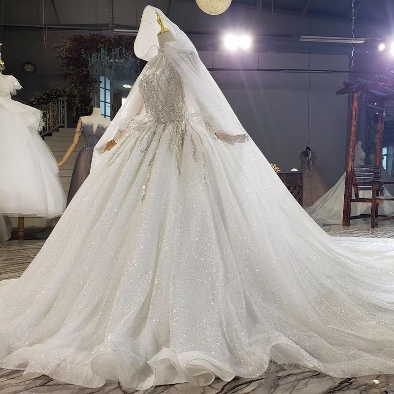 HTL1812 Luxurious Sequined Beading Cloak Wedding Dress 2020 High Neck Long Puff Sleeve Ball Gowns robe femme mariage 4