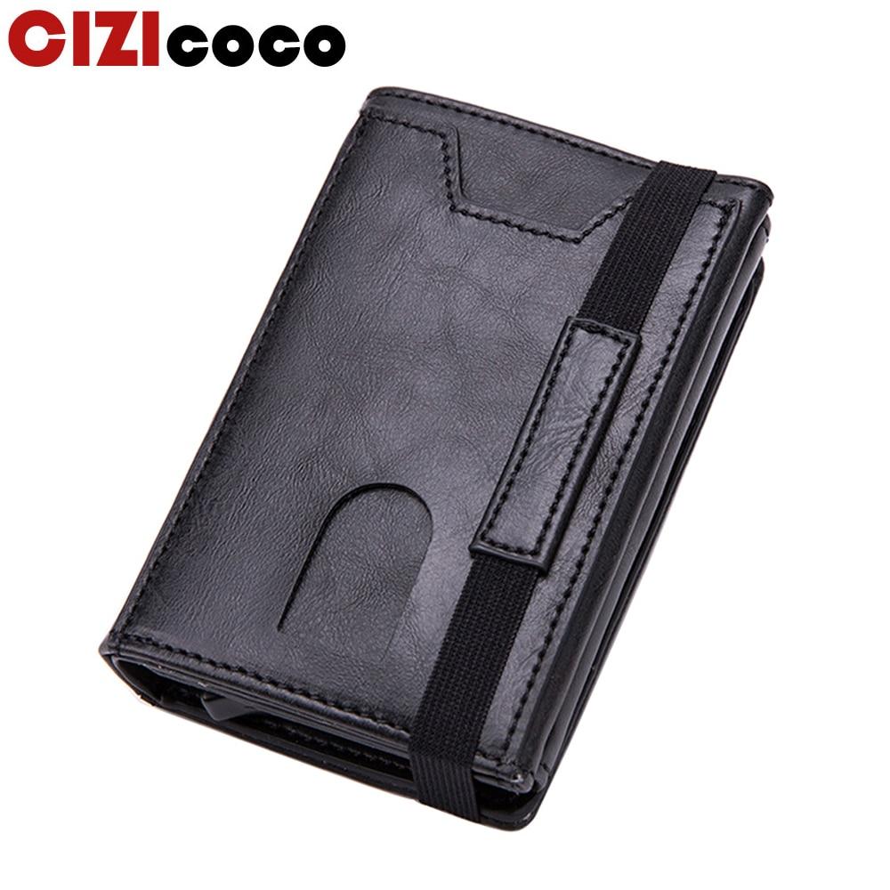 Мужские кошельки Cizicoco с технологией Rfid, классический кошелек с держателем для карт, мужской кошелек, большой брендовый роскошный черный кож...