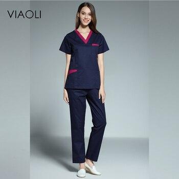 Viaoli 2017 new women's short-sleeved medical scrub uniform suits dentist hospital clothing doctors nurses uniform uniforms