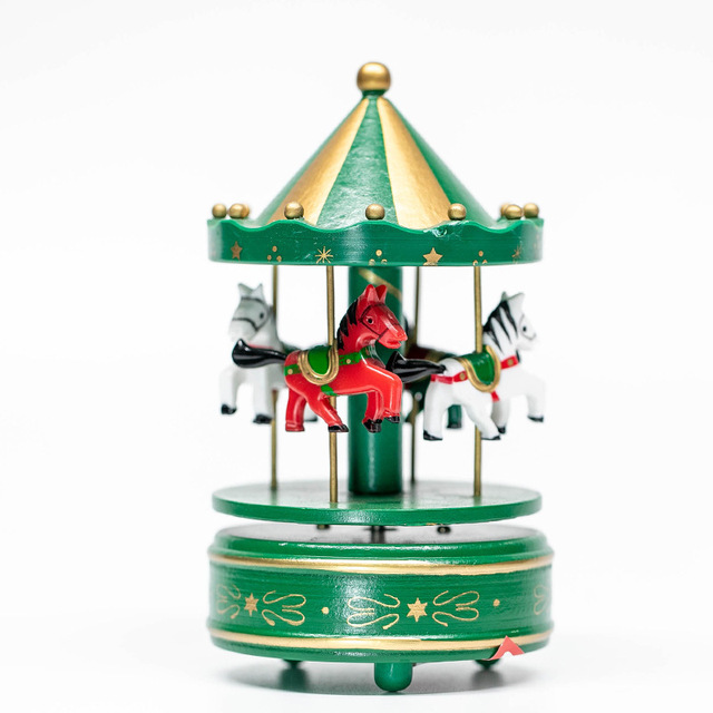 Christmas Carousel Recreation 2021 Happy New Year 2021 Christmas Decorations For Home Wooden Carousel Sky City Music Box Birthday Gift Christmas Ornaments Navidad Pendant Drop Ornaments Aliexpress