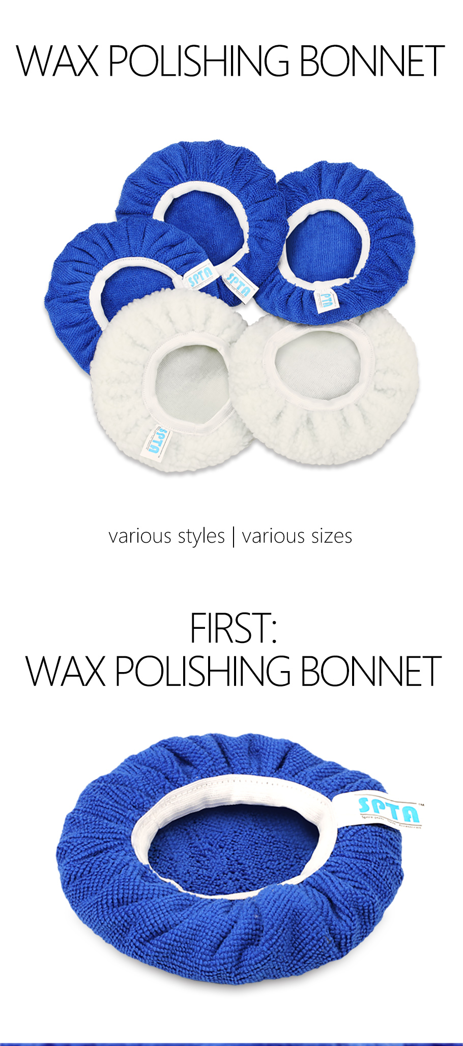 5 pack new microfiber 9-10/'/' buffer bonnets polishing detailing  blue white