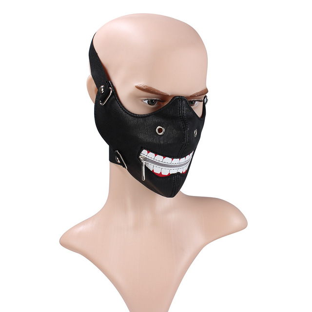 PU Leather motorcycle face mask Punk Rock style half face mask Halloween party Ghoul Cosplay Leather Mask Moto casco face mask 2