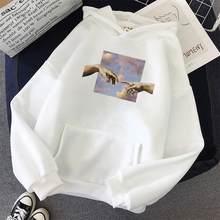 Zity casal oversize hoodies estilo coreano dedo toque impressão moletom feminino streetwear simples all-match unisex pulôver mão