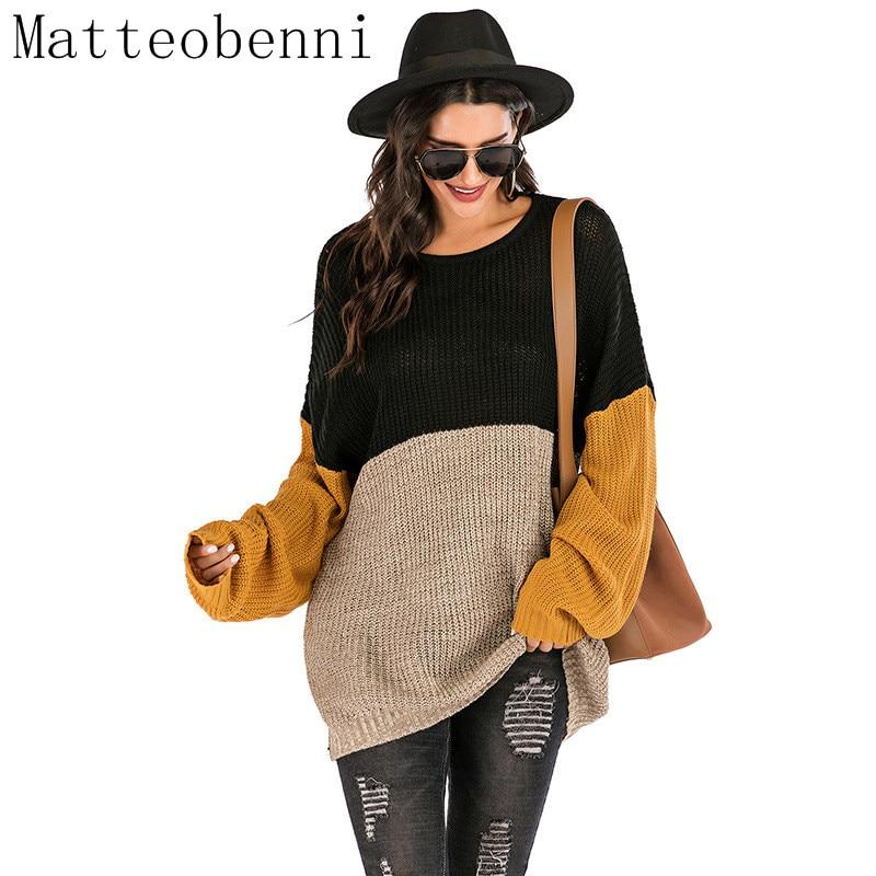Свободный вязаный свитер для женщин, джемперы с длинным рукавом, женские пуловеры, Свитера на каждый день, Осень зима 2020, цветной блок, полосатый свитер|Водолазки|   | АлиЭкспресс