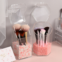 Pearl Clear Acrylic Cosmetic Organizer Makeup Brush Container Storage Box Holder Lipstick Storage Container Pencil Clear Box makeup brush holder cosmetic organizer box lipstick eyeliner pencil nail polish acrylic beauty skincare cosmetic storage box