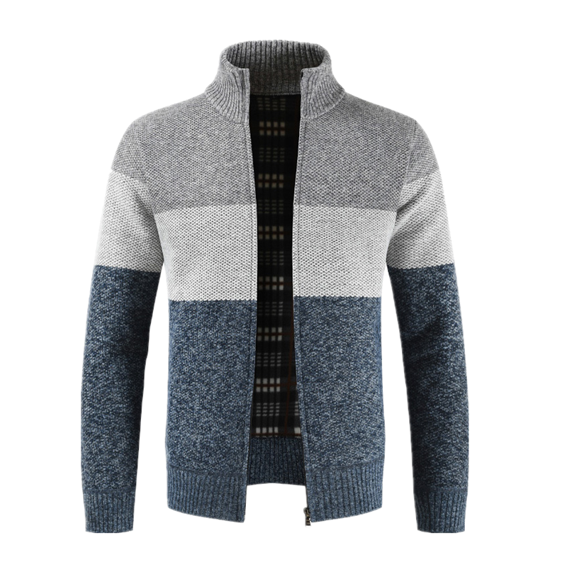 Dropshipping NEGIZBER 2019 Winter Sweater Men Patchwork Slim Fit Stand Collar Thick Fleece Cardigan Men Fashion Warm Men Sweater
