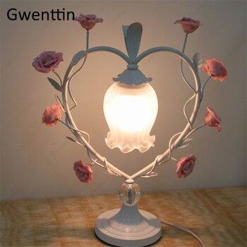 Love Wreath Table Lamp Rose Home Decor Modern Standing Desk Lights Living Room Bedroom Bedside Lamp Led Light Fixtures Luminaire