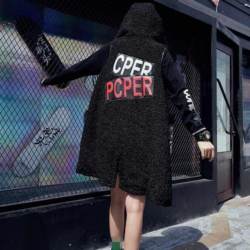 Street Style Rits Hooded Mouwloze Jas Vrouwen Mode 2020 Brief Gedrukt Zwarte Lange Bomber Vest Winter Bovenkleding