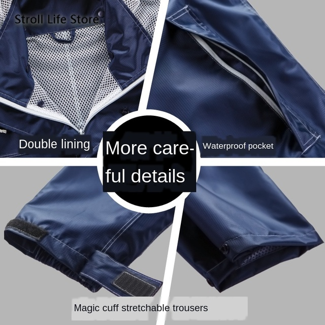 Nylon Men and Women Raincoat Rain Pants Suit Waterproof Thickened Double Blue Rain Jacket Poncho Casaco Masculino Gift Ideas 2