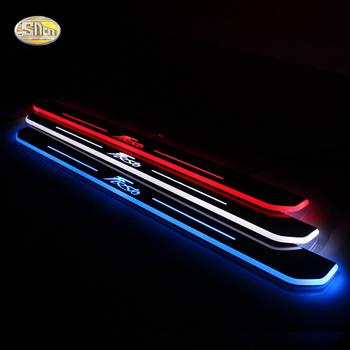 SNCN LED moving light scuff pedal for Ford Fiesta 2013~2020 car acrylic led door sill welcome pedal car styling led moving door scuff for land rover evoque 2013 15 door sill plate led welcome pedal led brand logo drl accessories