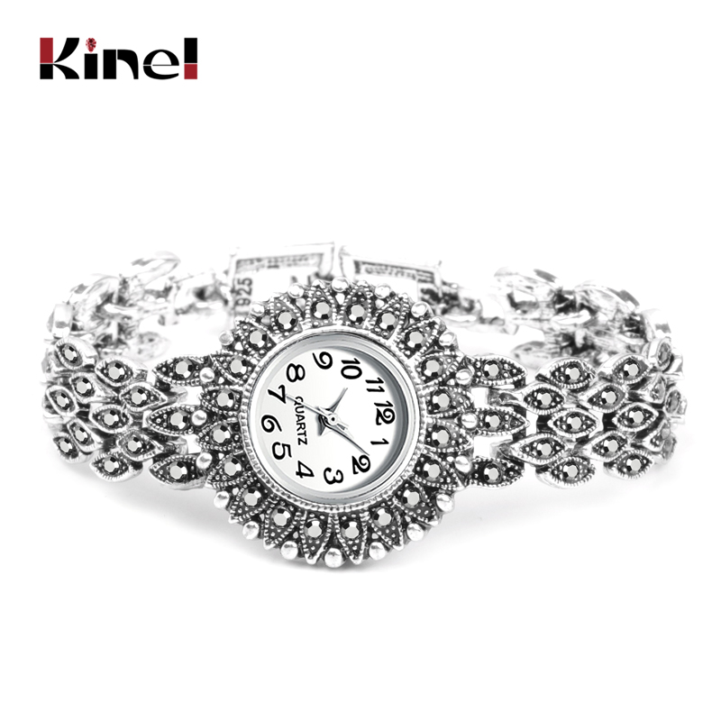 Kinel Fashion Antique Silver Quartz Wristwatch Women's Bracelet Watches Luxury Lady Dress Watches Crystal Jewelry Gifts