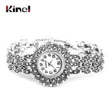 Kinel Mode Antieke Tibetaanse Silver Quartz Horloge Vrouwen Armband Horloges Luxe Lady Jurk Horloges Crystal Sieraden Geschenken