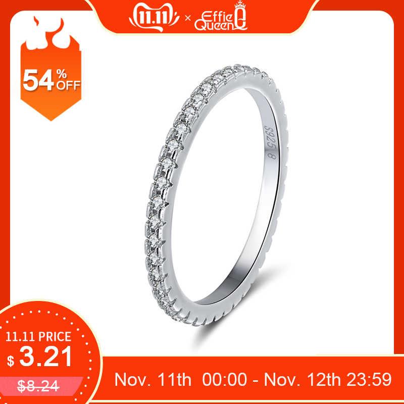 Effie Queen Real 925 เงินสเตอร์ลิงแหวนผู้หญิงผู้ชายคลาสสิก Full Pave AAA Cubic Zircon แหวนหมั้นแหวนคู่ BR63