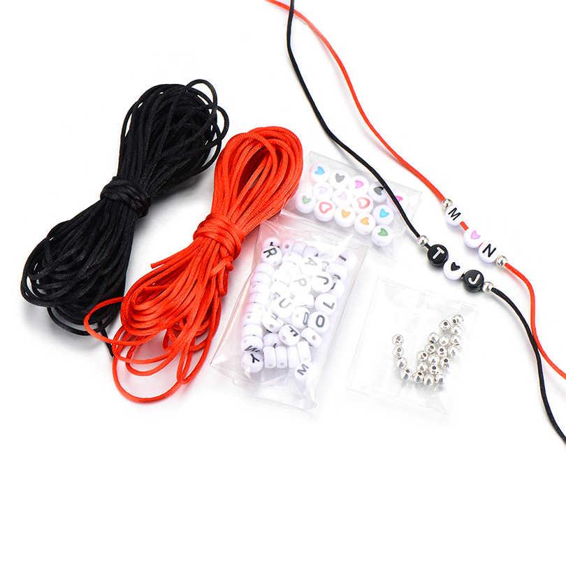 アクリルハート黒赤糸diyのジュエリーメイキングセットブレスレットの宝石の検索セット手紙カスタマイズギフトアクセサリー