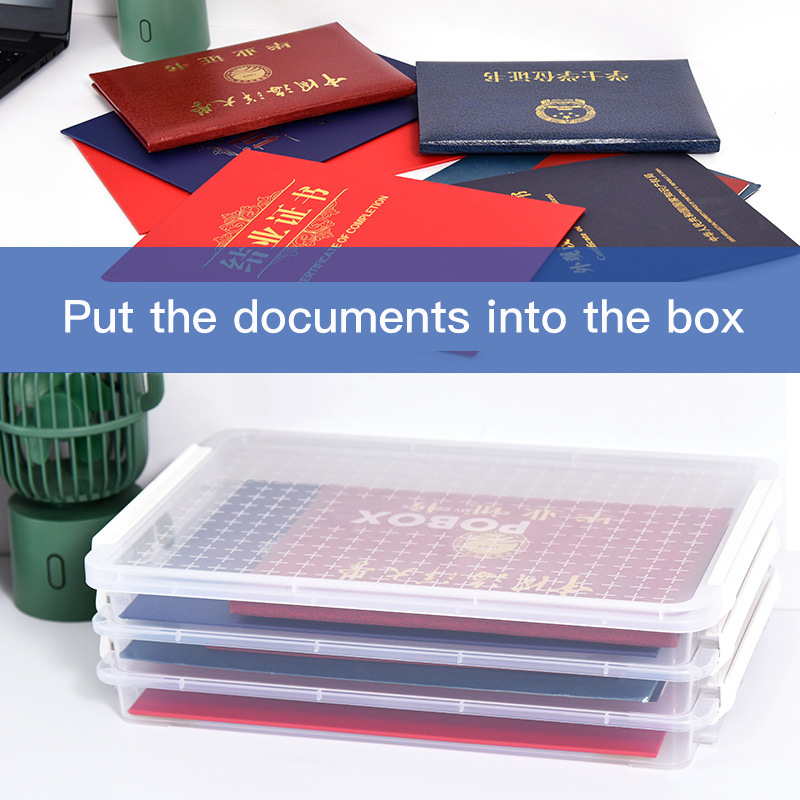 Family ID storage box home documents marriage certificate real estate certificate plastic layered moisture-proof storage box