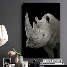 Black and White Wild Africa  Rhinos  Landscape Animal Canvas Painting Posters and Print Cuadros Wall Art Picture for Living Room