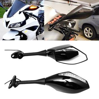 2X Black Motorcycle LED Turn Signal Integrated Mirrors For HONDA CBR600RR 1000RR 500R 250R For Suzuki GSX-R600 image