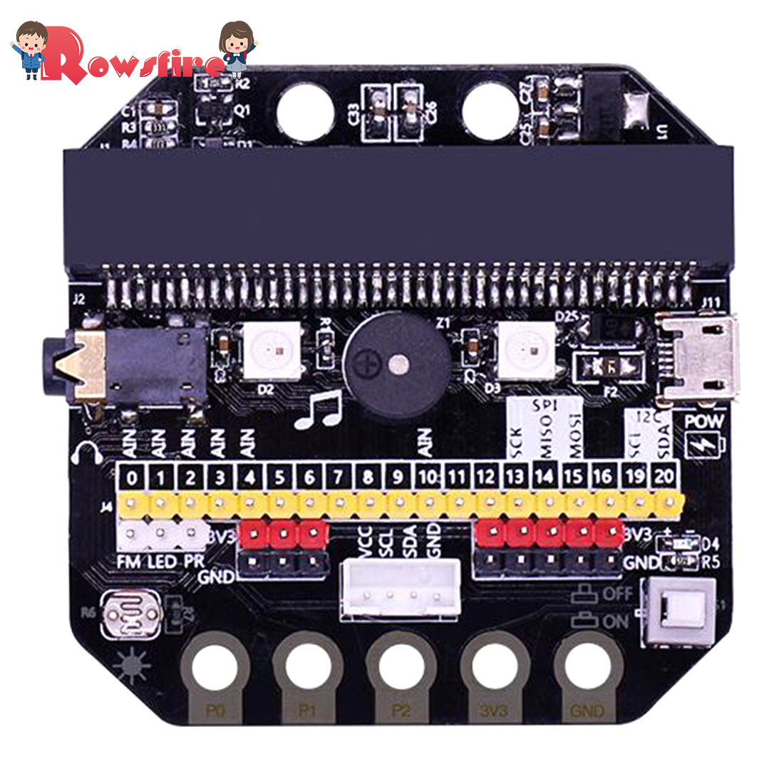 Basic:Bit IO Expansion Board Horizontal Type Pinboard Microbit Python Development Board With Building Block Expansion Pack