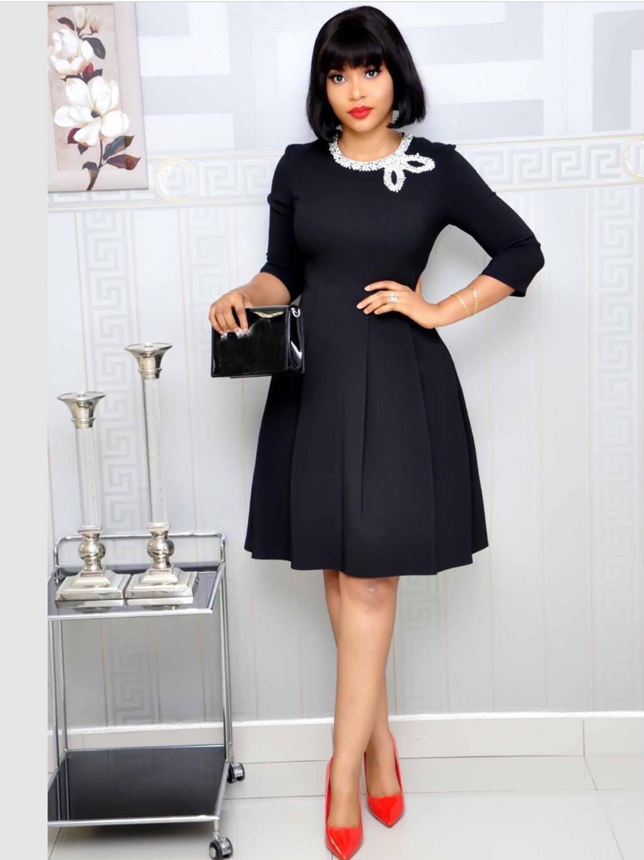 2019 летнее платье больших размеров женское с круглым вырезом и коротким рукавом