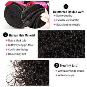 Image 4 - אמן שיער מתולתל חבילות עם סגירה פרואני שיער רמי תחרת סגר עם חבילות תוספות שיער טבעי 3 חבילות עם סגירה