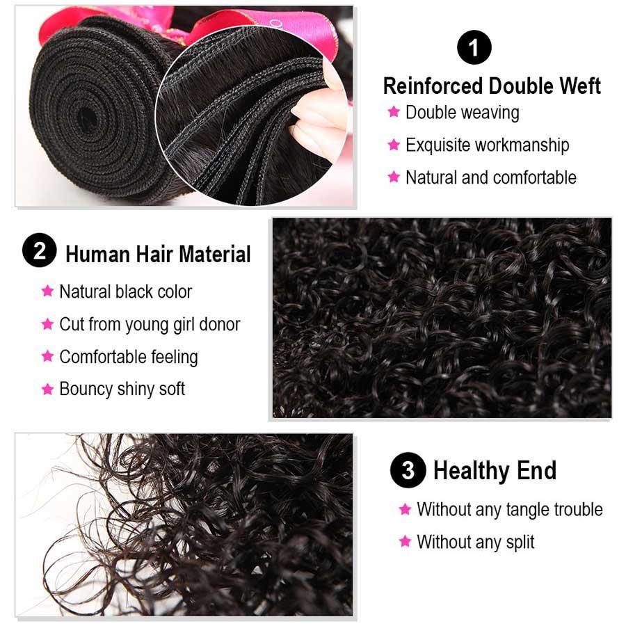 Image 4 - Mestre do cabelo encaracolado pacotes com fechamento peruano  cabelo remy fechamento do laço com pacotes extensões de cabelo humano 3  pacotes com fechamentoPacotes com 3/4 com fecho