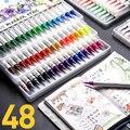 48 цветов чернила на водной основе настоящая Кисть ручка с мягкими наконечниками дети Взрослый Цвет ing  искусство  наброски  каллиграфия  цве...