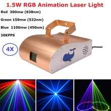 1550mw RGB DMX Animation Laser Light Stage Beam 128 Patterns Scanner Home Party DJ Lighting Effect