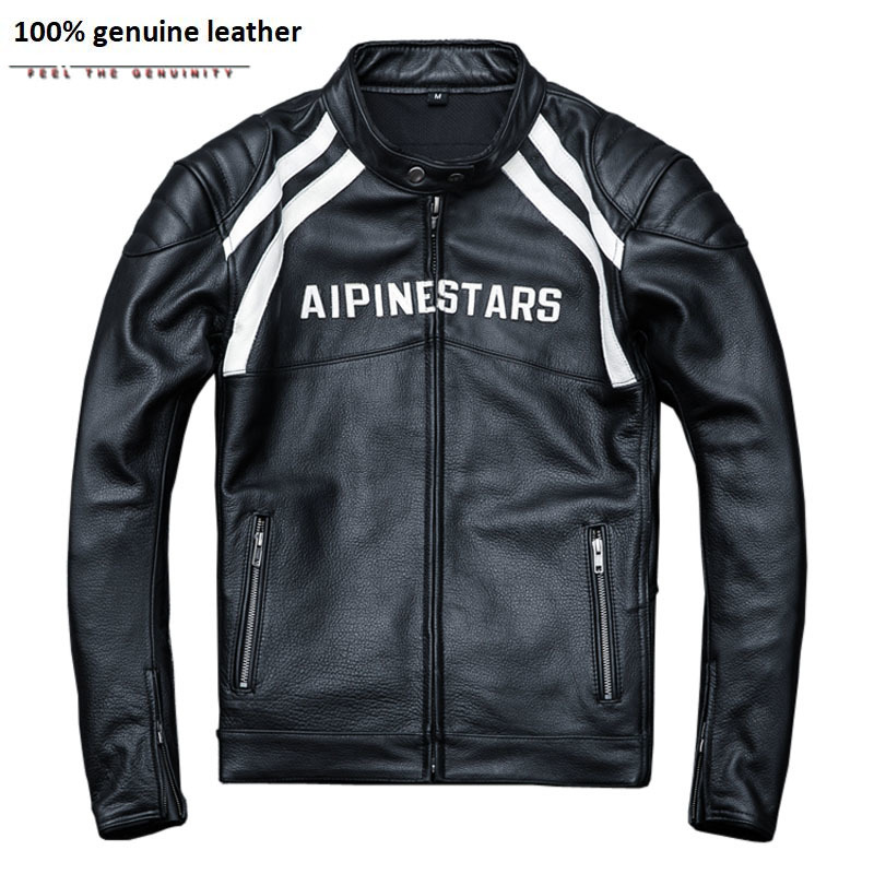 Protectors Installable Motorcycle Jacket Men 100% Cow Leather Thick Moto Club Jacket Men's Biker Coat Winter 4XL M015