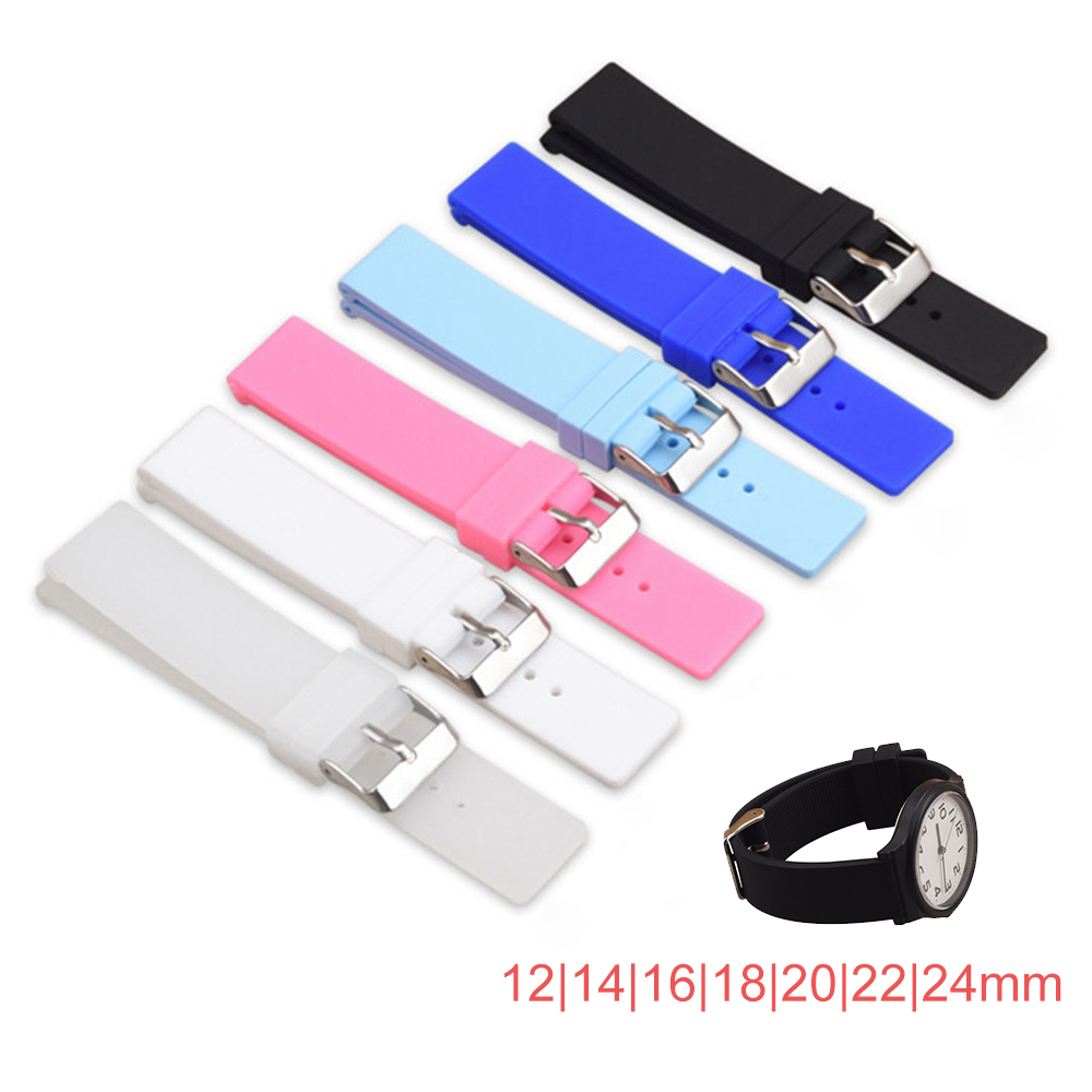 12mm 14mm 16mm 18mm 20mm 22mm 24mm Silicone Replacement Watch Band Strap Universal Rubber Sport Watchband Bracelet Accessories