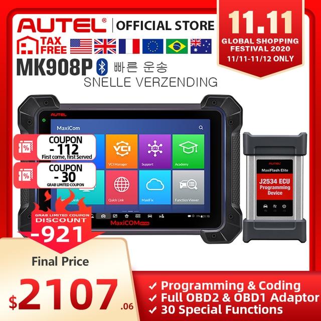 Автомобильный диагностический инструмент Autel MaxisCOM MK908P Pro, сканер OBD2, автомобильный программатор ECU J2534, Maxisys Pro Elite
