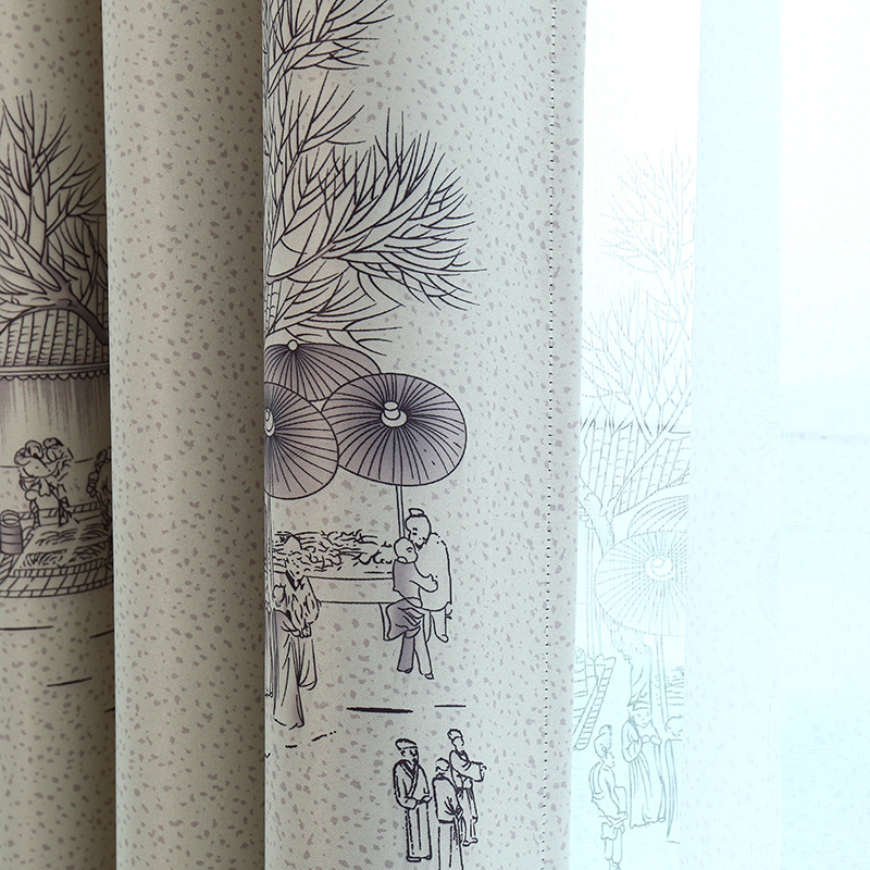 Qingming Shanghe Chinese Ink Paint Window Shade Blackout Curtains For Living Room Curtains For Bedroom Curtains For Study Room