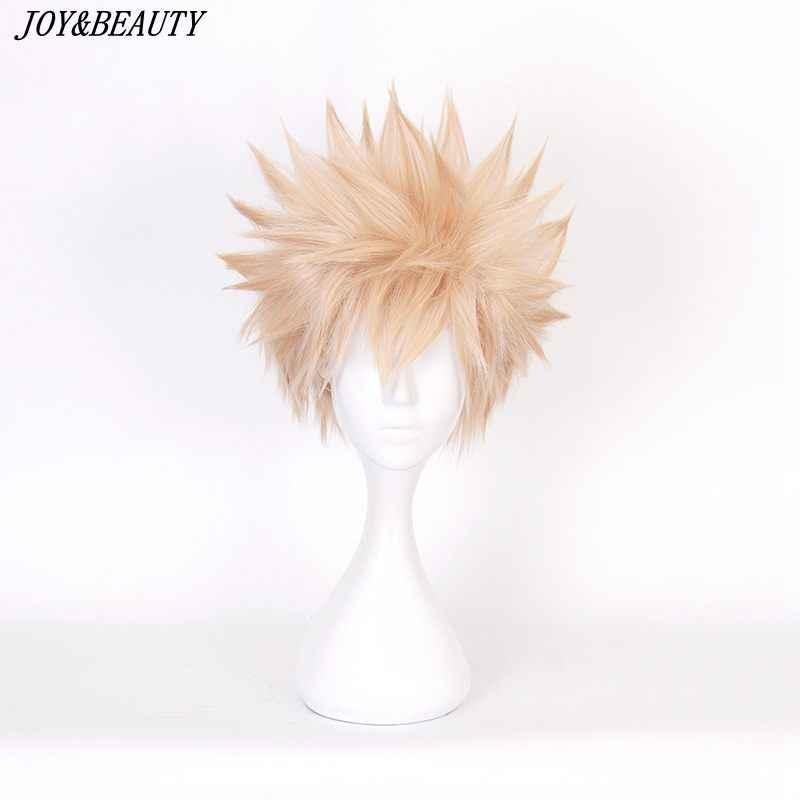 Alegria & beleza meu boku nenhum herói academia bakugou katsuki bakugo sintético curto reta linho loira resistente ao calor cosplay peruca