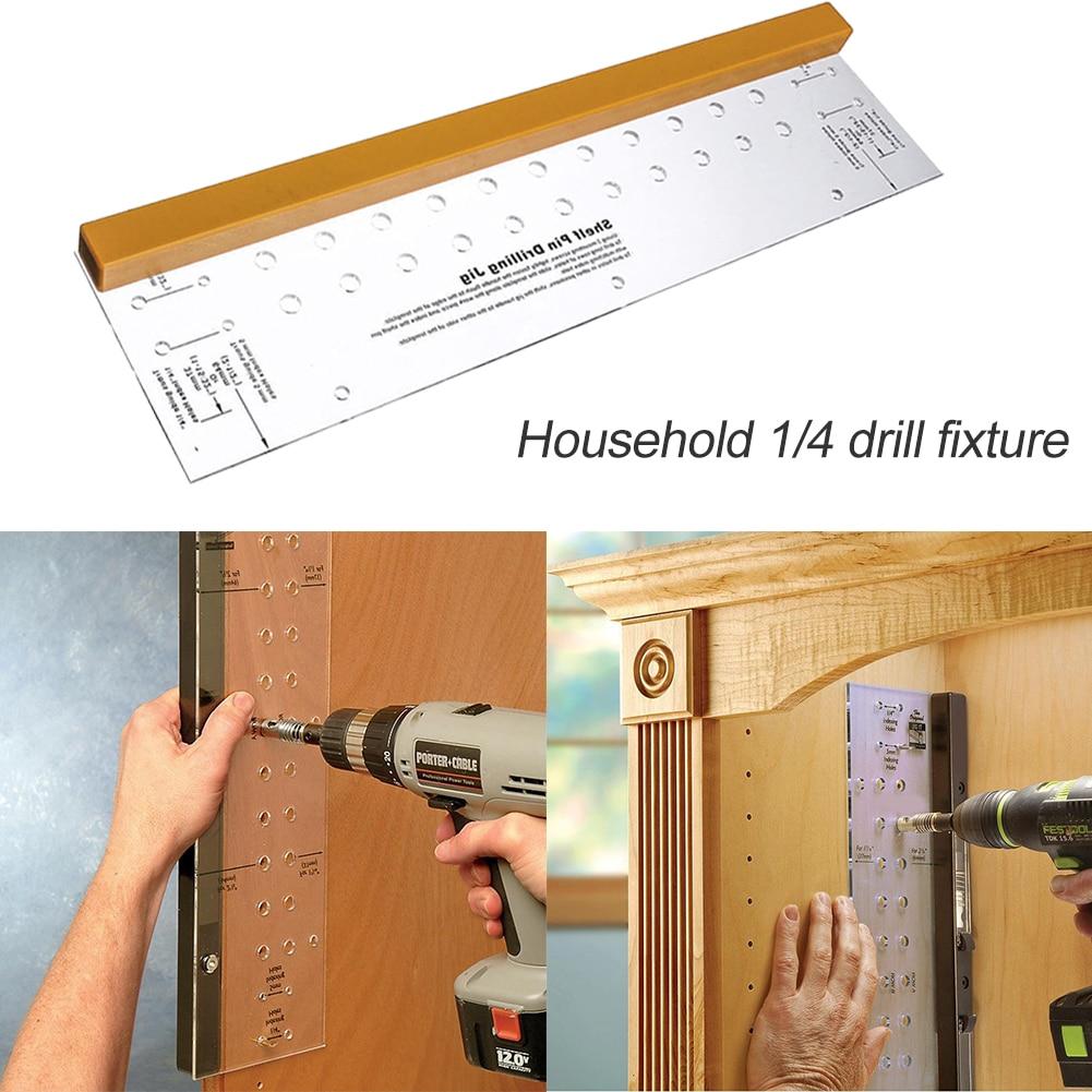 "Shelf Pin Drilling Jig with 1//4/"" Self Centering Bit Door Cabinet Hinge Mounting"