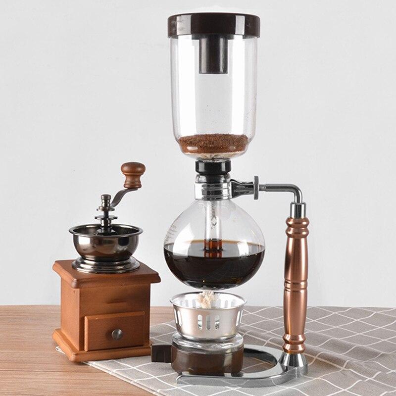 Японский стиль сифон кофеварка чай сифон горшок вакуумная Кофеварка стеклянный Тип кофе машина фильтр 3 чашки