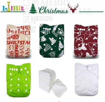 LilBit Holidays Christmas Boy Girl Reusable One Size Baby Cloth Diapers недорого