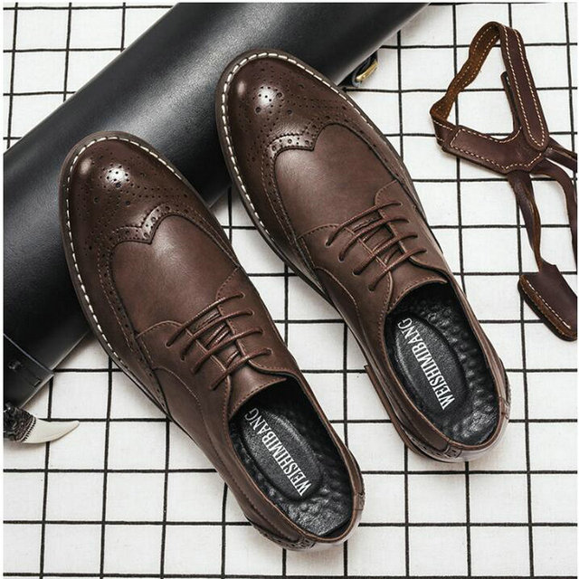 Designer Formal Men Dress Shoes Male Leather Classic Brogue Shoes Flats Oxfords For Wedding Office Business A53-79