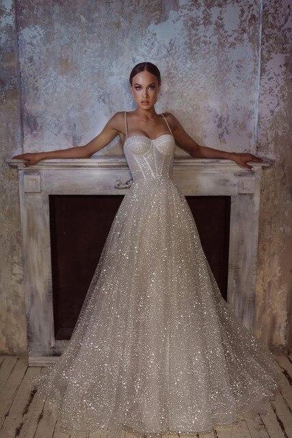 LORIE Shiny Sweetheart Princess Wedding Dresses Glitter Tulle Sexy Spaghetti Straps Boho Bride dresses Vestidos de novia 2021 5