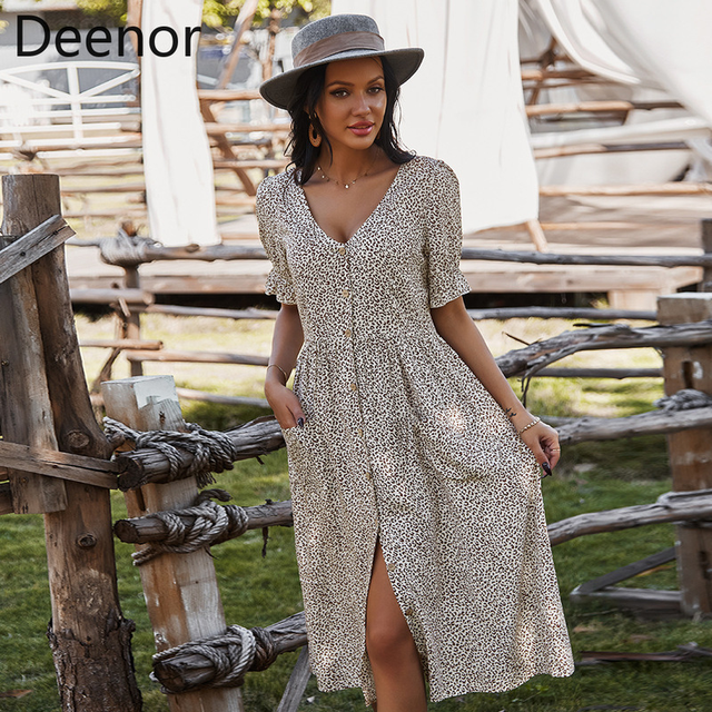 Deenor Women Summer Beach Chiffon Dress Casual Short Sleeve Polka Dot Dress Boho Party Dress Elegant V Neck Sundress Vestidos 1
