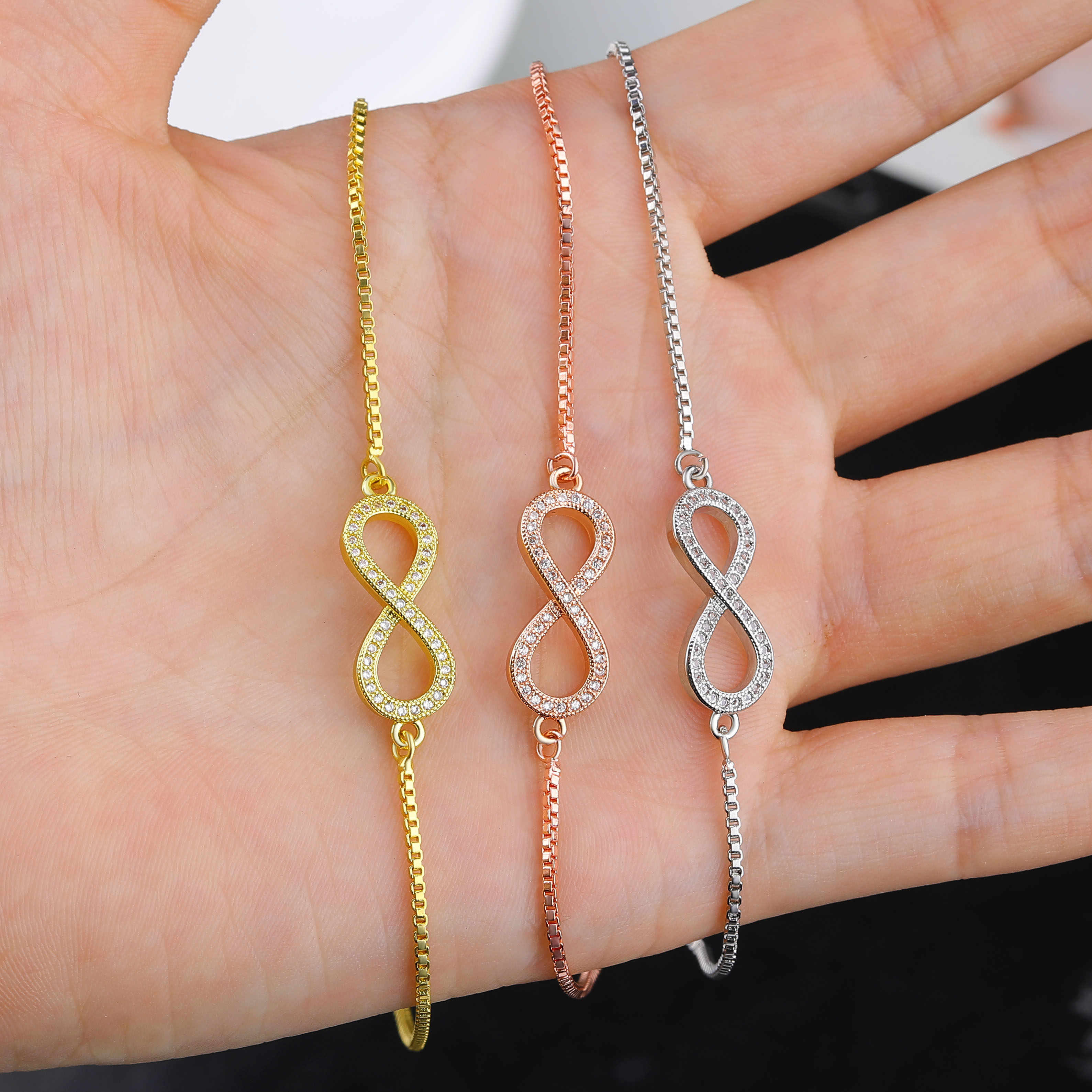 JUWANG kryształowe bransoletki regulowane nieskończoność uroku bransoletki dla kobiety różowe złoto biżuteria prezenty