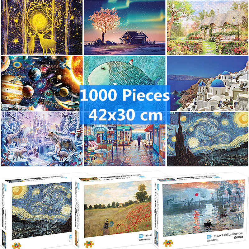 42*30 Cm Jigsaw Puzzle 1000 Pieces Art Assembling Picture Landscape Puzzle For Adults Games Toys For Adults Mat