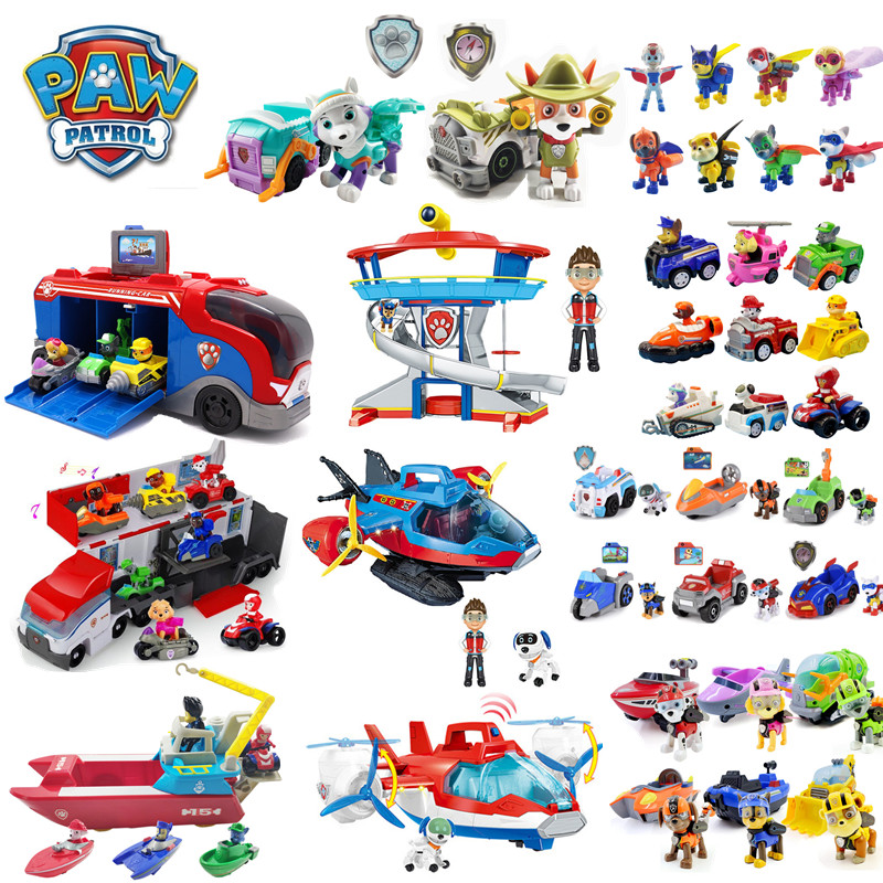 Paw Patrol Dog Toys Full Set Command Center Aircraft Yacht Lookout Tower Cartoon Ryder Doll Chase Fleet  Children's Birthday Toy