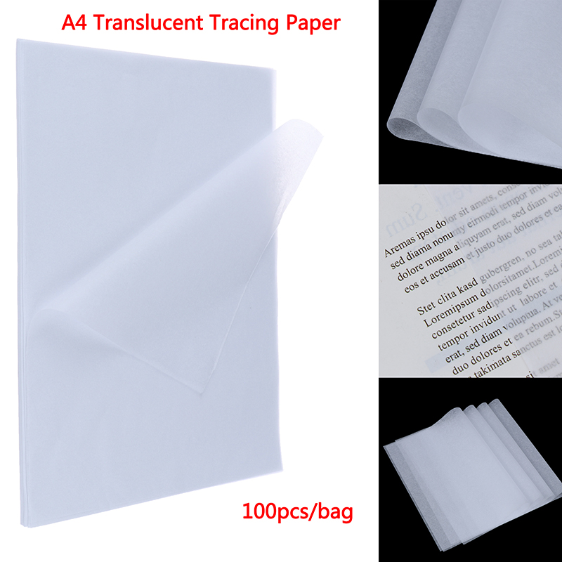 100pcs A4 Translucent Tracing Paper Copy Transfer Printing Drawing Paper Sulfuric Acid Paper For Engineering Drawing/ Printing