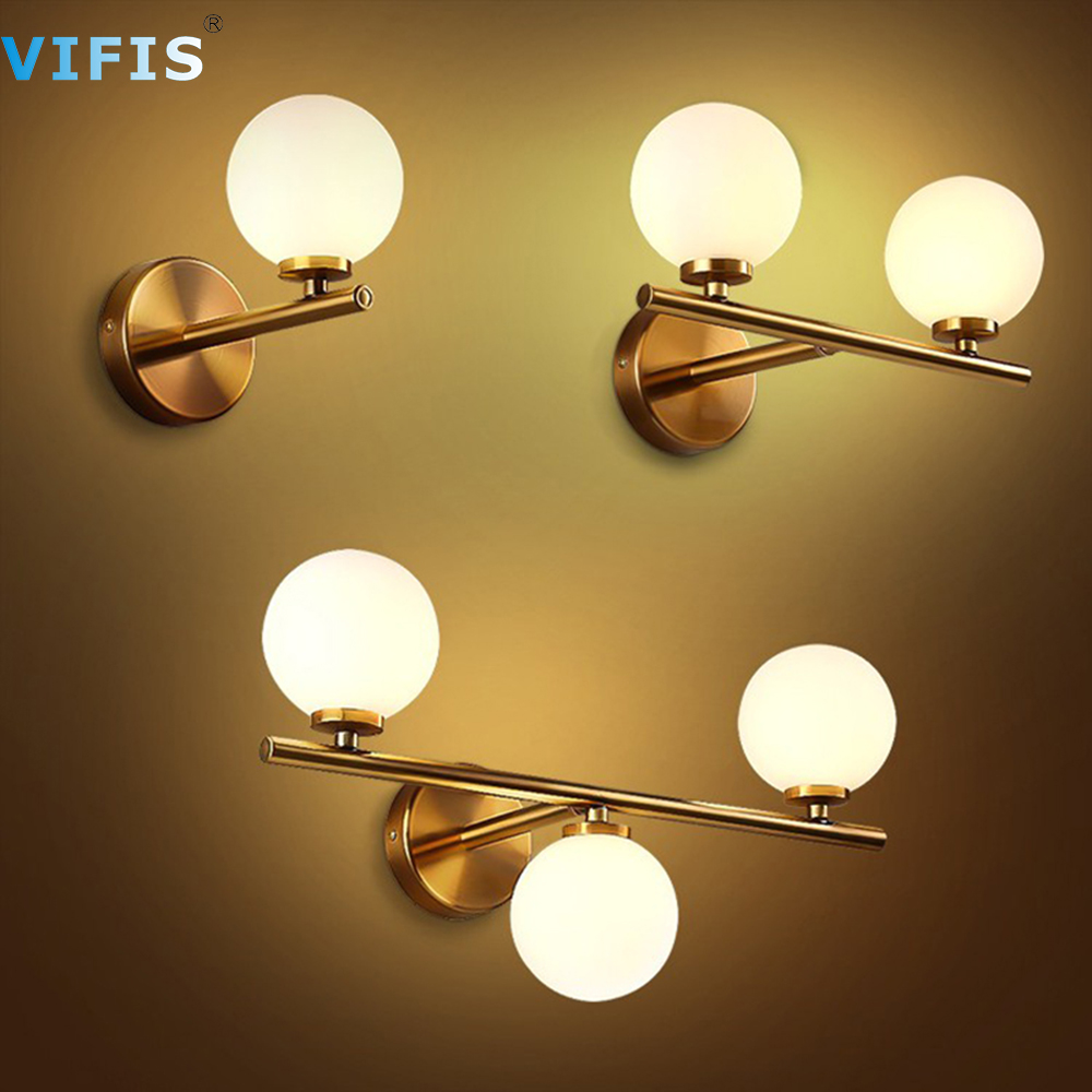 3Colors Dimming Gold LED Wall Light 3w 6w 9w Glass ball Bathroom Wall Lamp Mirror Lighting with G4 Bulb for Bedroom 85-265V