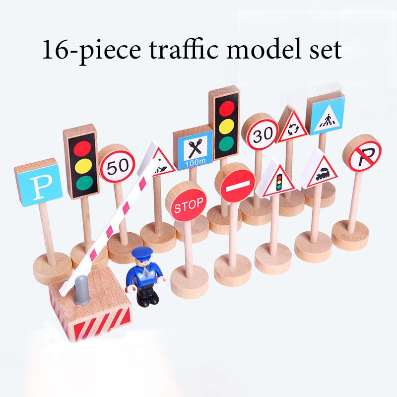 Wooden Puzzle Traffic Sign Road Sign 16 Piece Model Wooden Mini Airplane Car Wooden Children Toys