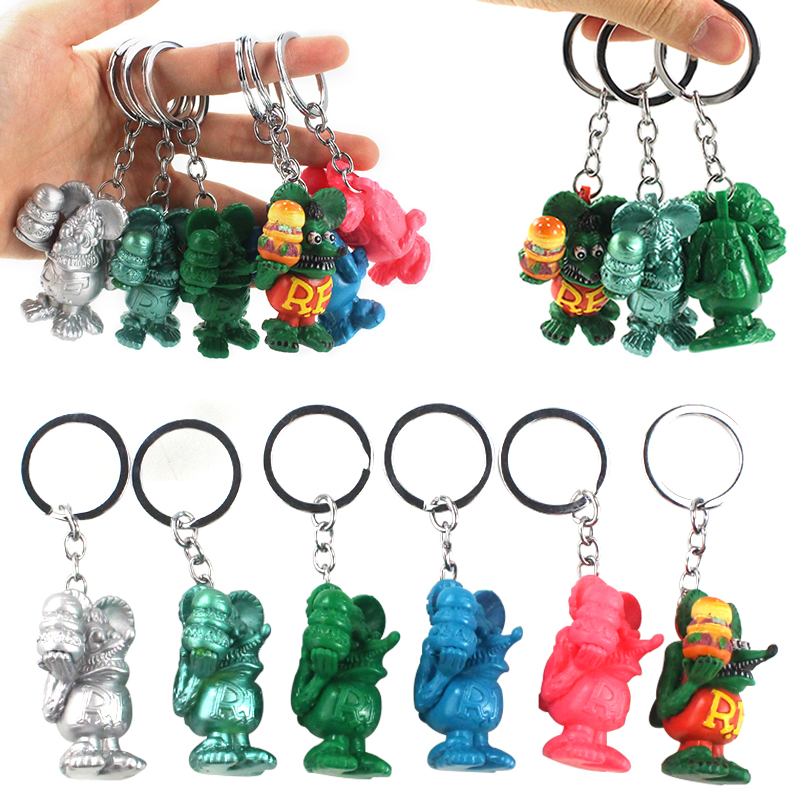6Styles Color Chain RAT FINK Mouse Fink Legend Key Cute  Keychain Fashion Bag Handmade Gifts 5cm