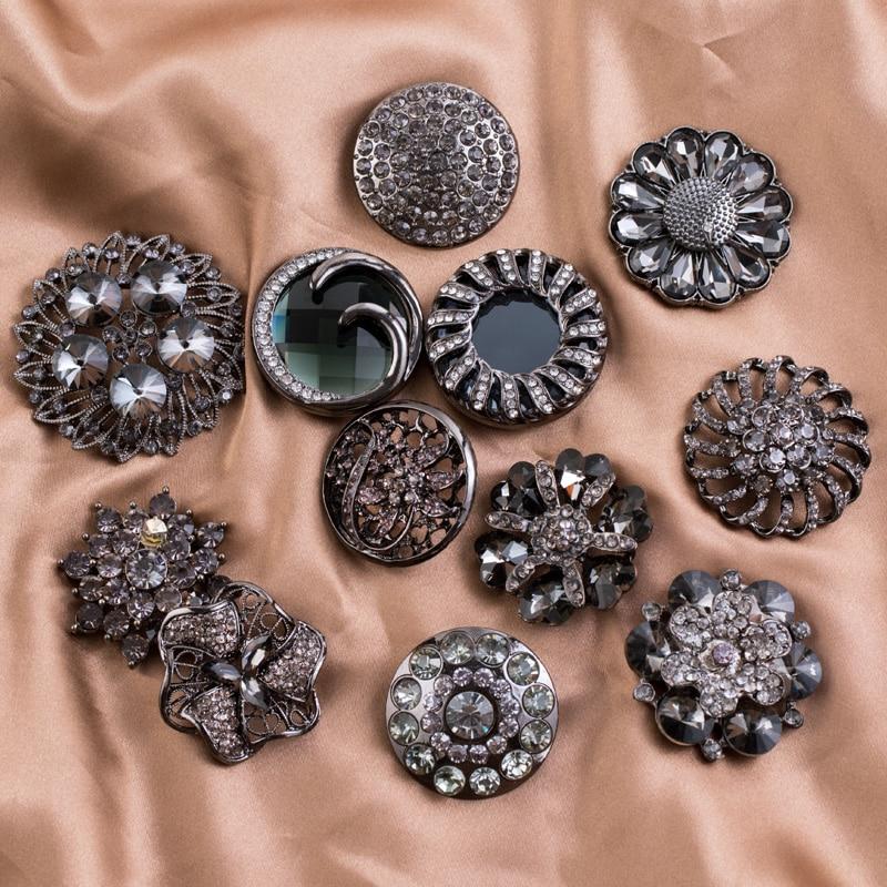 Independent 1pcs Black 3.8cm Overcoat Hollow Metal Buttons Clothing Women Fashion Coat Decorative Fur Buttons Diamond Buttons Mink Clothing