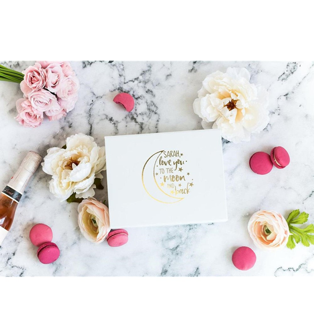 Personalised Real Foil white Groomsman proposal Gift Box with Name Love you  to the Moon and Back Print Rose Gold Gift Box|Gift Bags & Wrapping  Supplies| - AliExpress