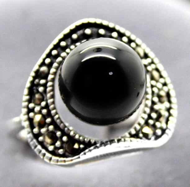 เครื่องประดับแหวนมุกขายส่งธรรมชาติ 6 มม.สีดำหยกธรรมชาติ 925 เงินสเตอร์ลิง Marcasite ขนาดแหวน 7/8 /9/1 จัดส่งฟรี