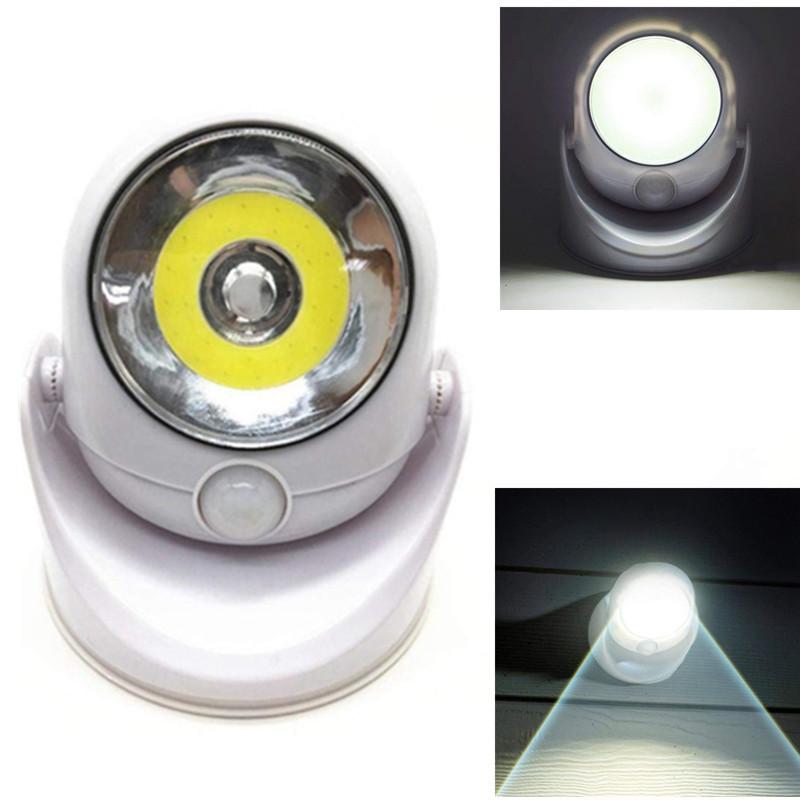 DC6V LED PIR Motion Sensor Night Light Battery Powered 360 Degree Swivels Cordless 3W Street Light for Home Wall Patio